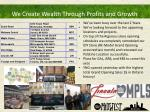 we create wealth through profits and growth