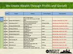 we create wealth through profits and growth1
