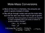 mole mass conversions