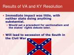 results of va and ky resolution