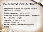 vocabularies phrases sentences
