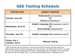 gee testing schedule