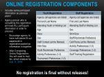 online registration components