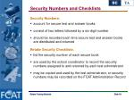 security numbers and checklists