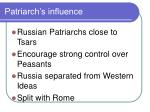 patriarch s influence