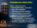 priorities for 2010 2011