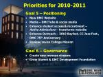 priorities for 2010 20113