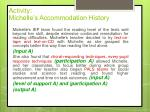 activity michelle s accommodation history