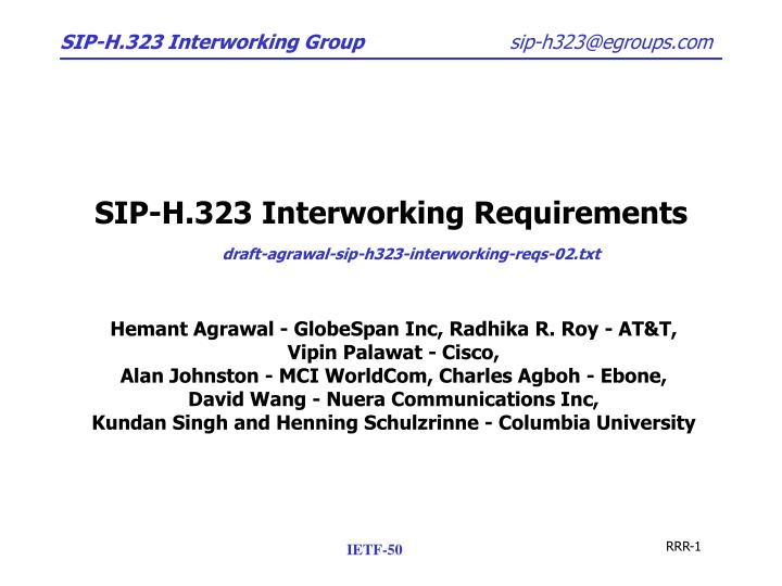 sip h 323 interworking requirements n.