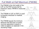 full width at half maximum fwhm