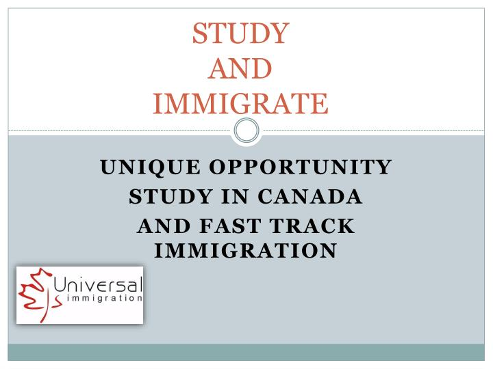 study and immigrate n.