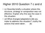 higher 2010 question 7 c and d