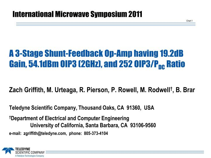 a 3 stage shunt feedback op amp having 19 2db gain 54 1dbm oip3 2ghz and 252 oip3 p dc ratio n.