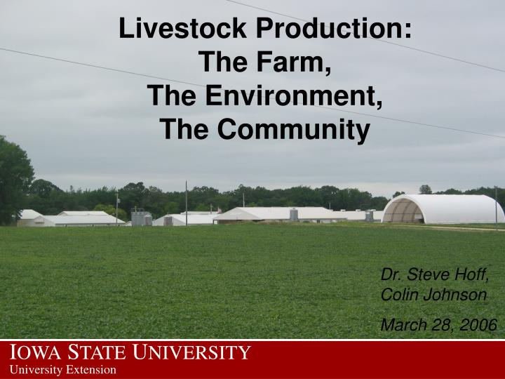 livestock production the farm the environment the community n.