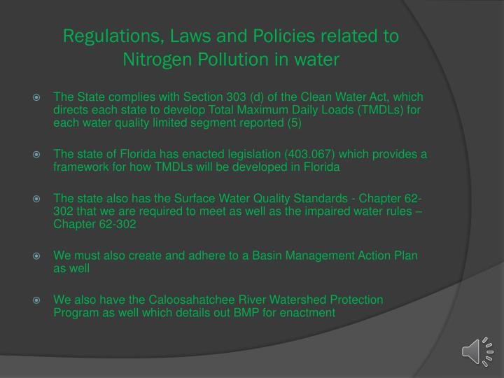 Regulations, Laws and Policies related to Nitrogen Pollution in water