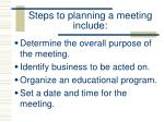 steps to planning a meeting include