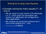 solving for a using least squares