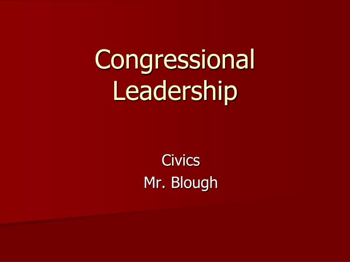 congressional leadership n.