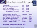 status of electronics and daq prototypes