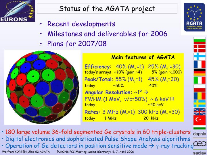 status of the agata project n.