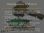 classifications of motions