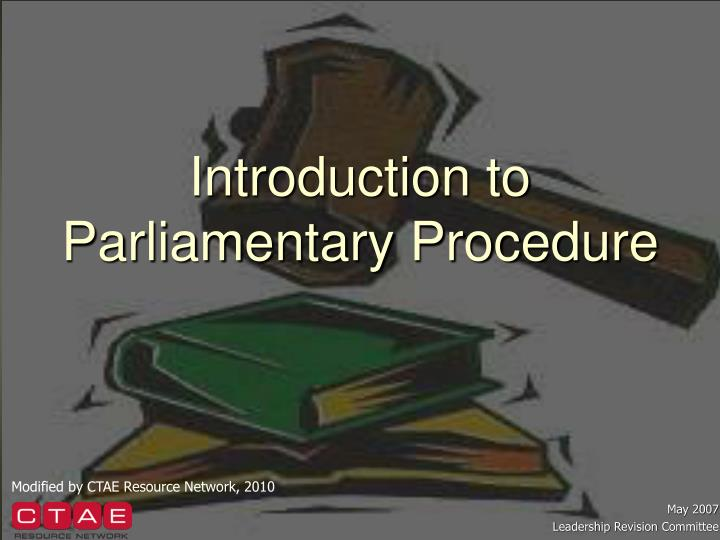 introduction to parliamentary procedure n.