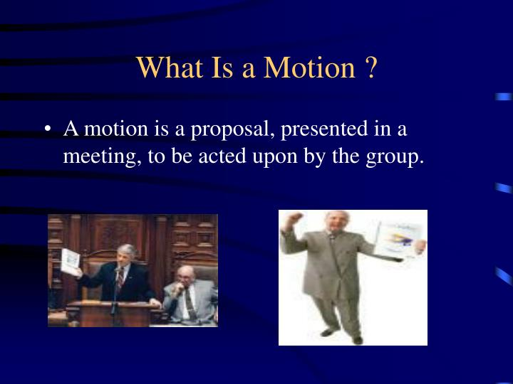 What Is a Motion ?