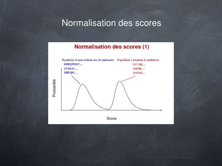 Normalisation des scores