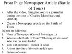 front page newspaper article battle of tours