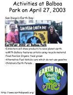 activities at balboa park on april 27 2003