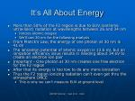 it s all about energy