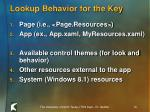 lookup behavior for the key