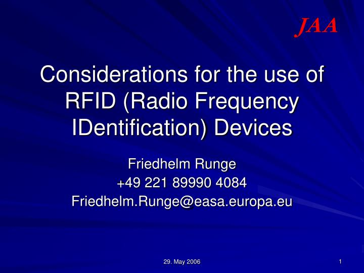 considerations for the use of rfid radio frequency identification devices n.