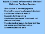 factors associated with the potential for positive clinical and functional outcomes