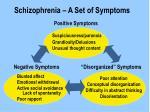 schizophrenia a set of symptoms