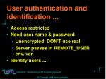 user authentication and identification