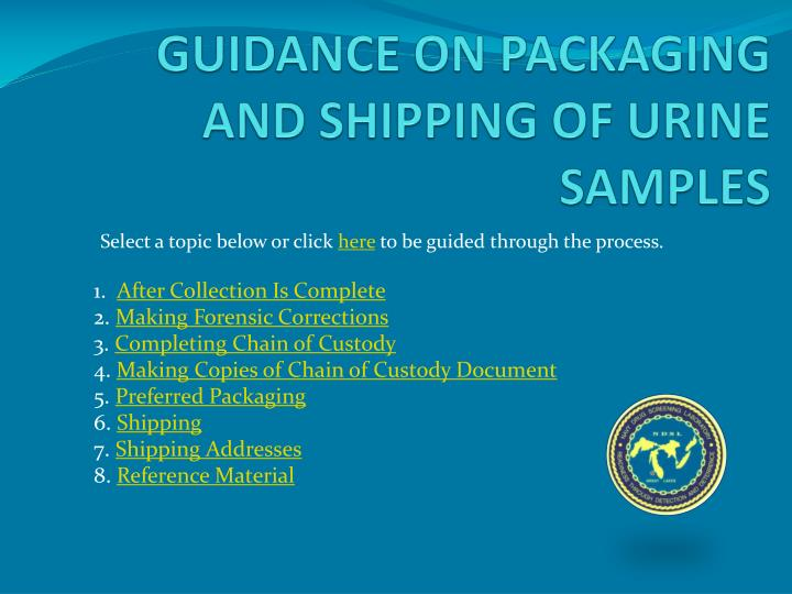 guidance on packaging and shipping of urine samples n.