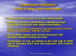 commission initiative state of play and next steps