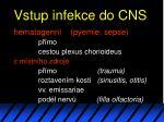 vstup infekce do cns