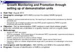 growth monitoring and promotion through setting up of demonstration units