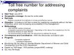toll free number for addressing complaints