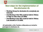 next steps for the implementation of the einclusion al
