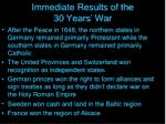 immediate results of the 30 years war