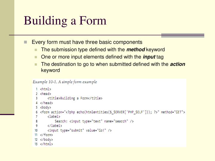 Building a form