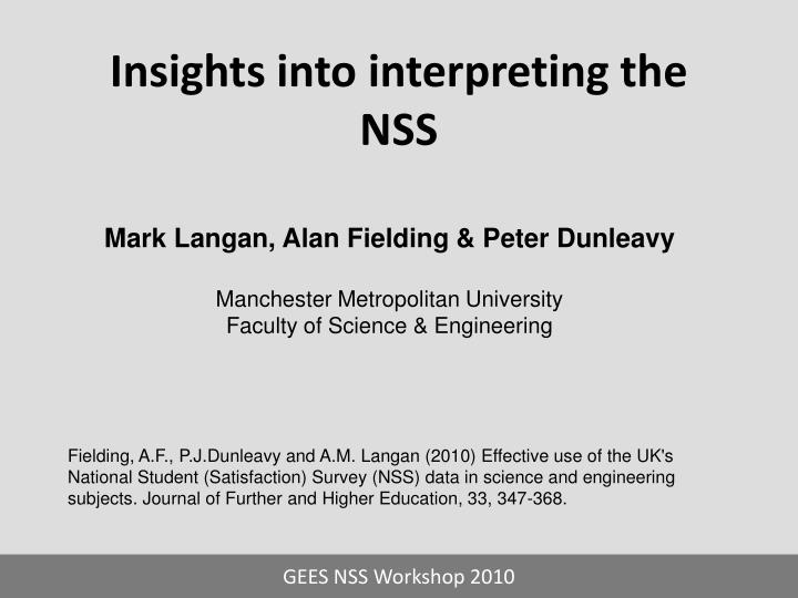 insights into interpreting the nss n.