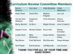 curriculum review committee members