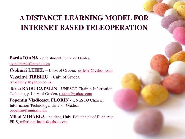 a distance learning model for internet based teleoperation n.