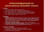 acknowledgements to international scientific teams