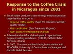 response to the coffee crisis in nicaragua since 2001