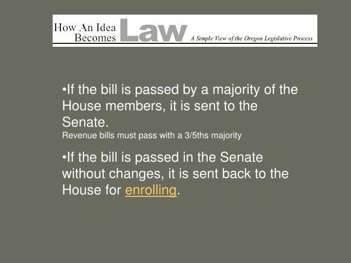 If the bill is passed by a majority of the House members, it is sent to the Senate.